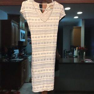 Blue and cream summer dress